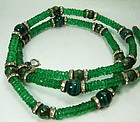 1970s Dubaux Green Poured Glass Necklace French Beads Faux Malachite