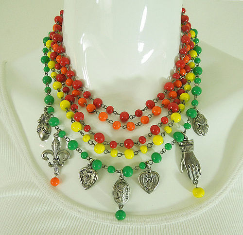 1970s Gerard Yosca Poured Glass Wired Necklace Charm Drops Statement