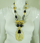 1980s French Huge Art Plastic Black White Necklace Earrings Runway