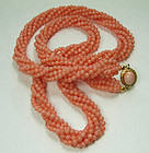 1970s 6 Strand Pink Salmon Angel Skin Coral Necklace Undyed 75 Grams