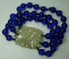 1920s Chinese Carved Chalcedony Cobalt Blue Peking Glass Bracelet