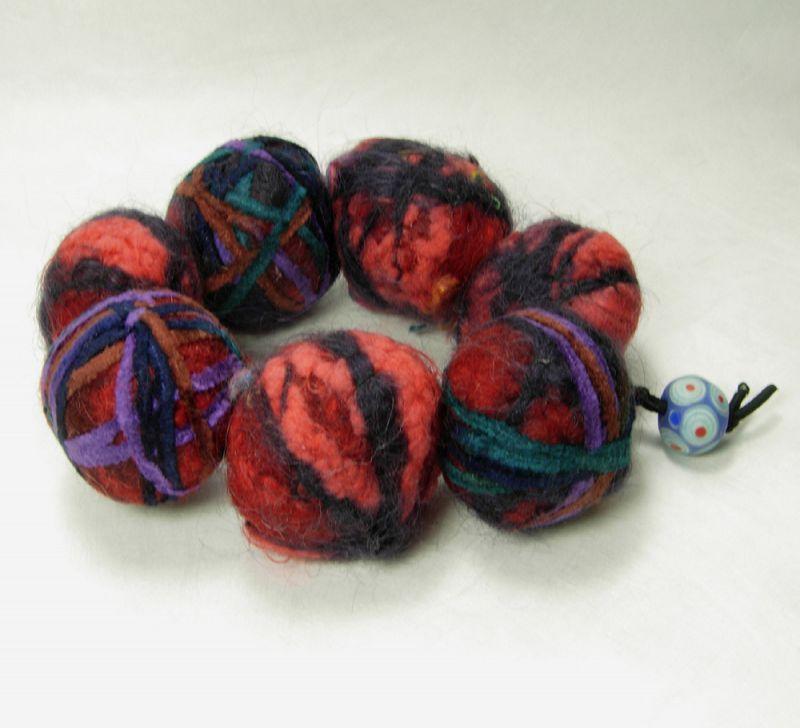 80s Italian Couture Statement Size Modernist Bracelet Wool Yarn Balls