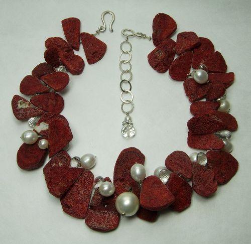 Vintage Studio Necklace Red Sponge Coral Rock Crystal Pearls Sterling