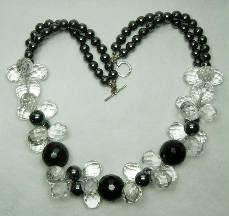Vintage Rock Crystal Black Onyx Hematite Silver Statement Necklace