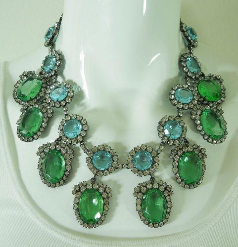 C 1990 Kenneth Lane KJL Runway Necklace Blue Green Glass Stones Strass