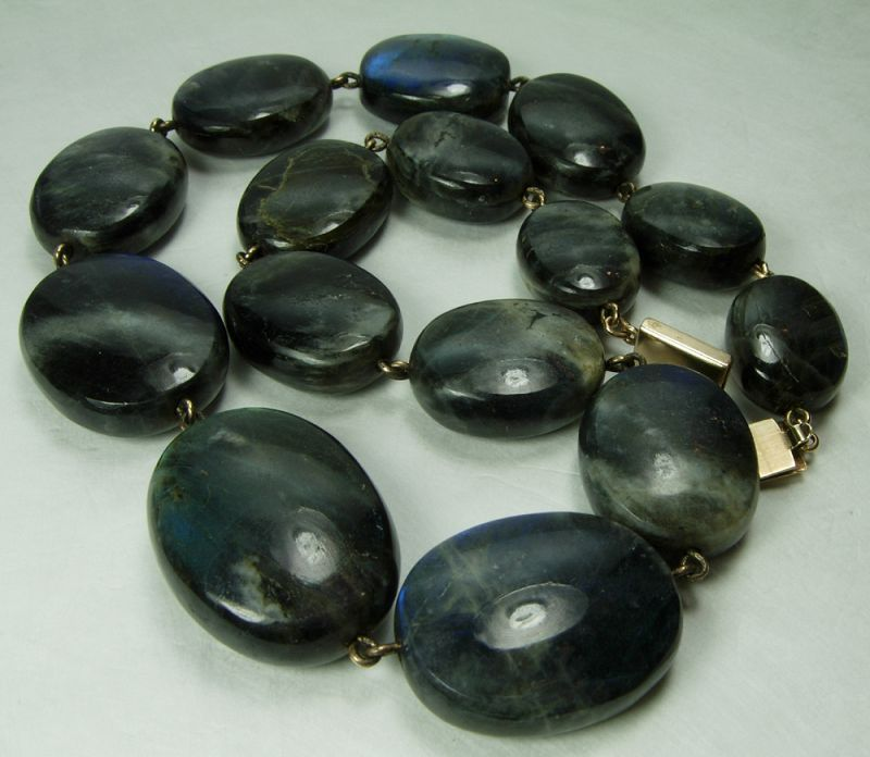 Vintage Studio Labradorite 14KT Gold Mounted Necklace Very Large Beads
