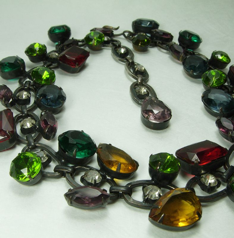 1980s Couture Runway Necklace Very Big Multi Glass Stones Greens Blue