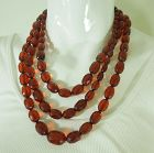 1920s Faceted Cherry Amber Bakelite Necklace 127 Grams 62 Inches