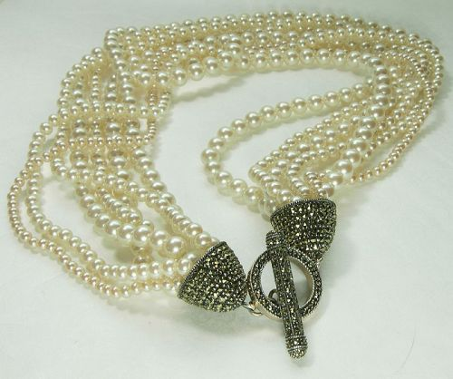 1980s Couture Necklace Sterling Silver Marcasites Glass Faux Pearls