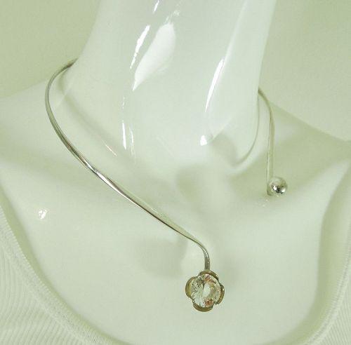 1970s Alton Sweden 935 Sterling Silver Rock Crystal Necklace Modernist