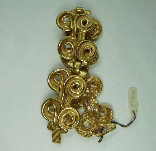 1970s French Byzantine Style Bracelet Heavy Cast Enameled Metal