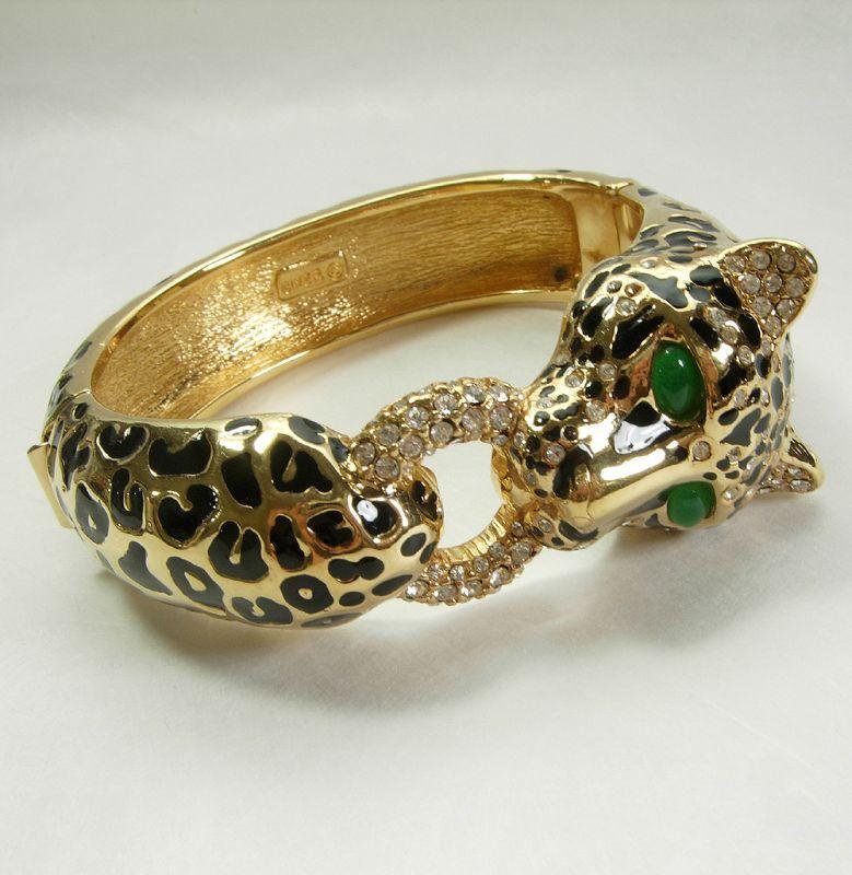 Signed Ciner Leopard Bracelet Black Enamel Green Glass Rhinestones
