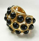 80s Runway Unsigned Kenneth Lane Bracelet Black Cabochons Goldtone
