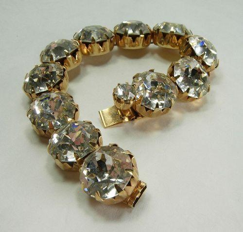 1960s Kramer Bracelet Huge Brilliant Headlight Glass Stones Statement