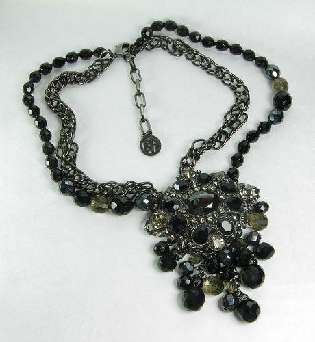 Ben Amun Runway Necklace Brilliant Lemon Gray Rhinestones Glass Beads