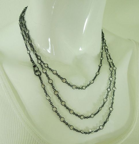 Antique Victorian Gunmetal Guard Chain 100 Collet Set Crystals 59 Inch