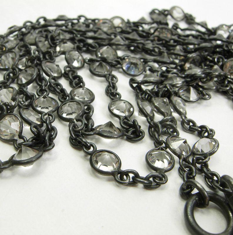 Antique Victorian Gunmetal Guard Chain 100 Collet Set Crystals 59 Inch