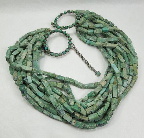 Siman Tu 12 Strand Chrysocolla Turquoise Necklace Runway Statement