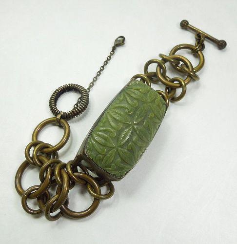 C 1990 Stephen Dweck Statement Bracelet Carved Serpentine Stone Bronze