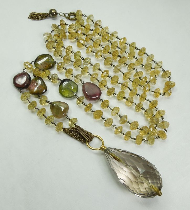 Pellini Italy Long Pendant Necklace Tourmaline Citrine Smoky Quartz