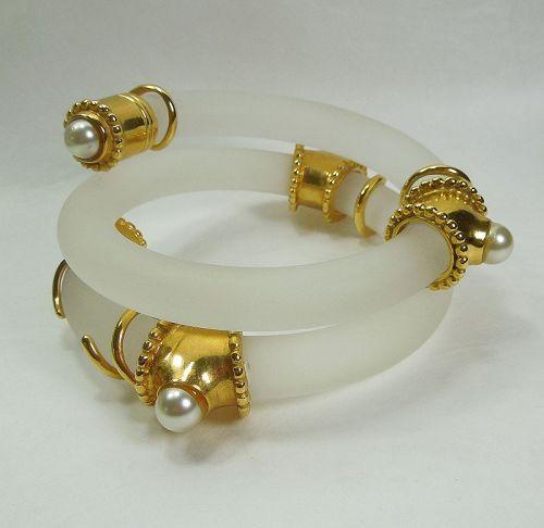 Huge French Bracelet Lucite Faux Pearl Cast Goldtone Inna Cytrine Attr
