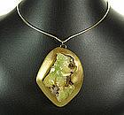 Stunning Signed Modernist Adamite Crystal Necklace