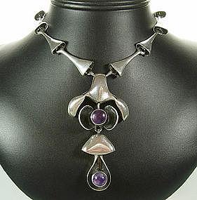 Studio Modernist Sterling and Amethyst Pendant Necklace