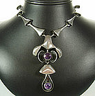 Studio Modernist Sterling and Amethyst Pendant Necklace