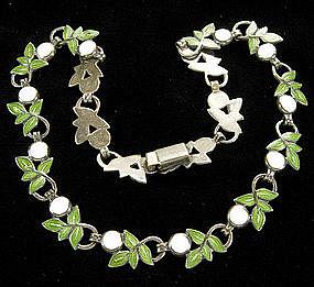 Margot de Taxco Sterling Enamel Leaf Form Necklace