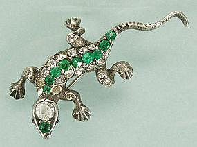 Art Deco Sterling Green Paste Salamander Form Brooch
