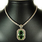 Art Deco Otis Sterling Necklace with Huge Peridot Stone