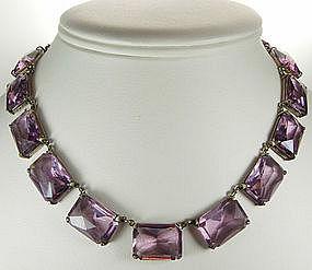 Art Deco Sterling Necklace Huge Purple Glass Stones