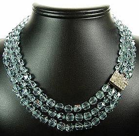 Deco 3 Row Alexandrite Lead Crystal Diamante Necklace