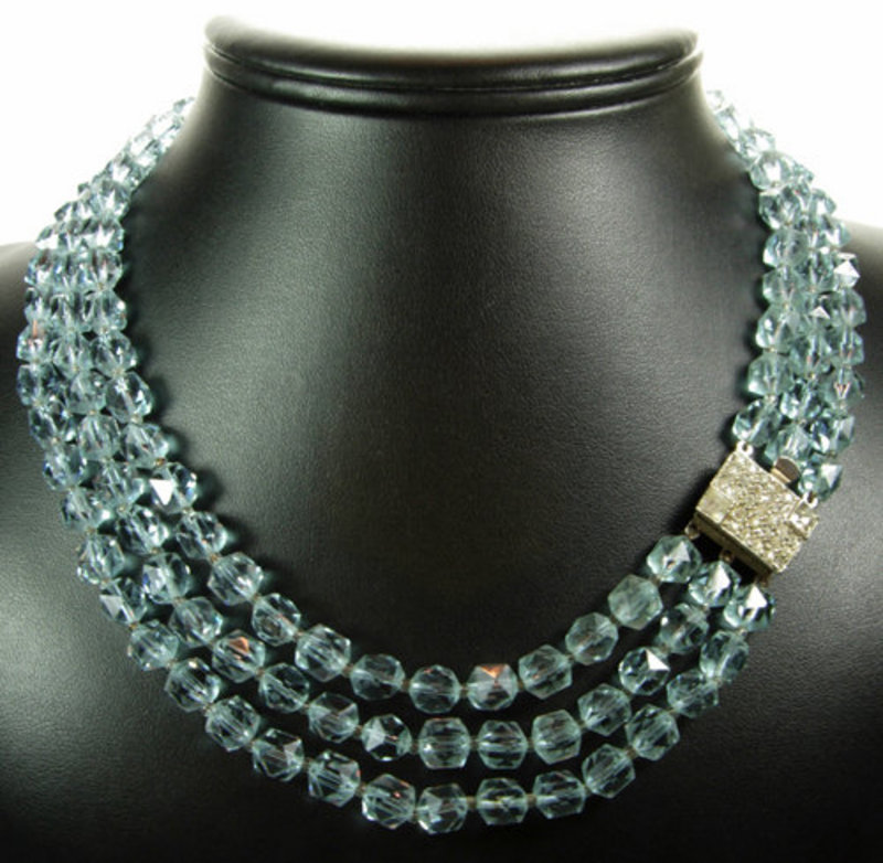 Deco 3 Row Alexandrite Lead Crystal Diamante Necklace