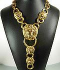 Kenneth Lane KJL Lion Door Knocker Diamante Necklace