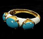 1960s Cadoro Bangle Enamel, Turquoise Glass Stones