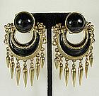 Ugo Correani Italy Etruscan Black Cabs Enamel Earrings