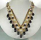 1970s Bijoux Fiaschi Italy Black Glass Bib Necklace