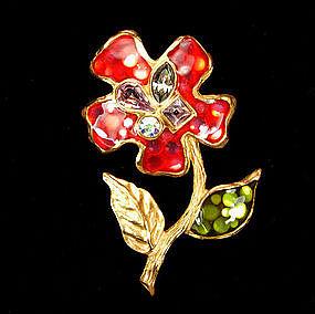 Christian Lacroix Enameled Flower Form Pendant Crystals
