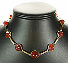 1930 Art Deco Arts & Crafts 14K Gold Carnelian Necklace