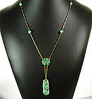 20s Deco 14K Gold Carved Apple Jade Lavaliere Necklace