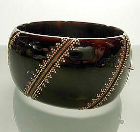 Victorian Gold Mounted Tortoise Shell Hinged Bracelet