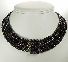 Antique Garnet 5 Strand Beaded Necklace Jeweled Clasp