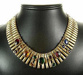 Schiaparelli Deco Egyptian Style Glass Drops Necklace