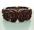 40s Raisin Bakelite Clamper Deeply Carved Roses, Leaves