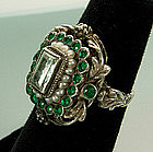 Antique Austro Hungarian Silver Green Beryl Pearl Ring