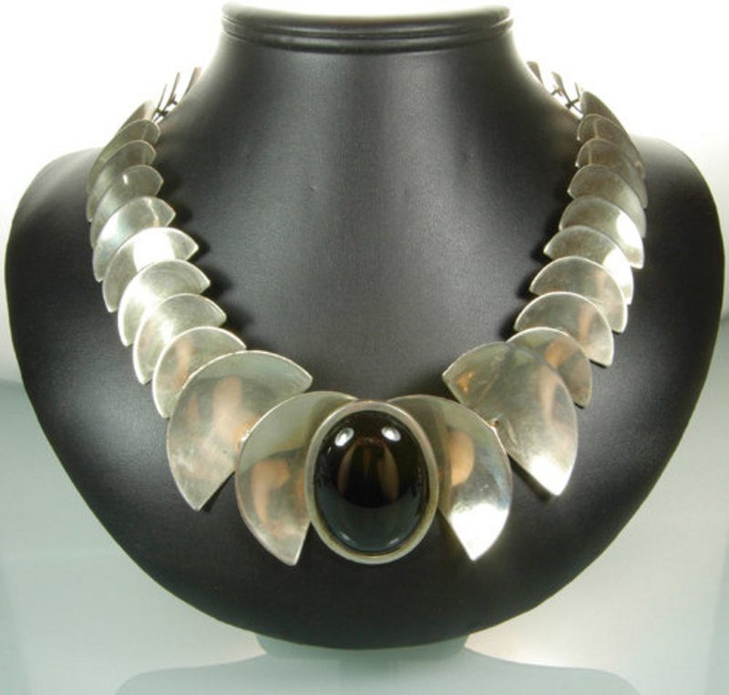 60s Modernist Studio Sterling Onyx Articulated Necklace