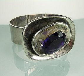 Signed Los Castillo Sterling Amethyst Modern Bracelet
