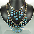 1960s 2 Tier Turquoise Poured Glass Drop Bib Necklace