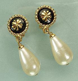 Signed Chanel Drop Earrings: Black Stones, Faux Pearls